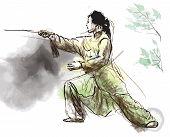 stock photo of tai-chi  - An hand drawn illustration  - JPG