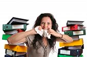 pic of insane  - Insane woman with stacks of files around isolated in white