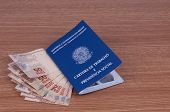 foto of brazilian money  - Brazilian work document and social security document  - JPG