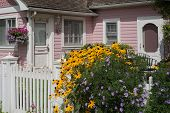 stock photo of quaint  - An old fashioned English style gate with bright yellow and purple flowers announces a quaint pink cottage in the background - JPG