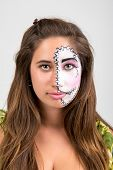 picture of face painting  - Beautiful young girl portrait with face painting - JPG