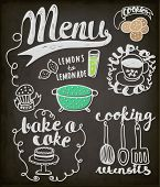 Постер, плакат: Blackboard Doodles Themed Around Food and Drink Hand drawn vignettes related to food and drink in