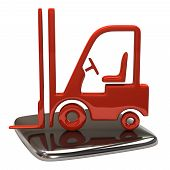 stock photo of lift truck  - 3d illustration of lift truck icon on white background - JPG