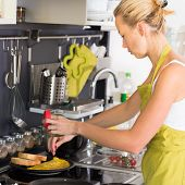 picture of home-made bread  - Young Woman Cooking - JPG