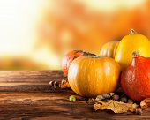 pic of seasonal  - Seasonal harvested agriculture products on wooden planks with blur background - JPG