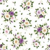 image of english rose  - Vector seamless pattern with pink - JPG