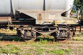 foto of boxcar  - Freight wagons stationing in the train station in the afternoon - JPG