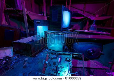 Light Painted Abandoned Cinema Studio. 3 Crashed Tv Sets Still Shining