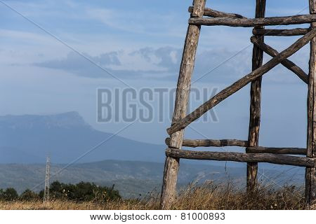 wooden watchtower in the mountains