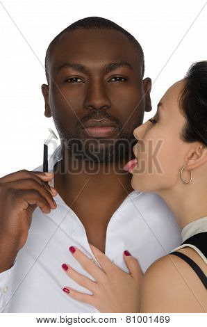 Asian Licks His Cheek Dark-skinned Men With Razor