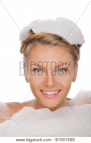 Beautiful Young Woman In Soapy Foam