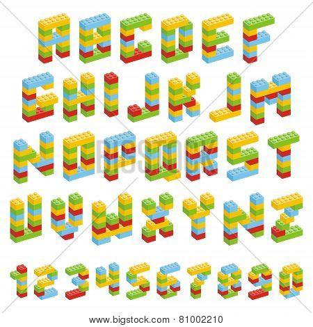 Alphabet set made of toy blocks isolated