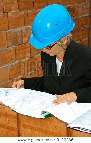 Senior Architect Woman With Project