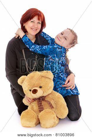Daughter embracing his beloved mother.