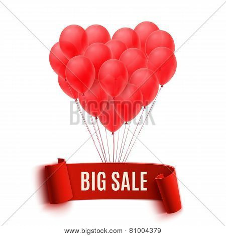 Balloons in form of heart holding big sale banner