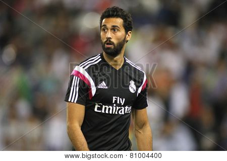 BARCELONA - MAY,11: Alvaro Arbeloa of Real Madrid during the Spanish League match between Espanyol and Real Madrid at the Estadi Cornella on May 11, 2013 in Barcelona, Spain