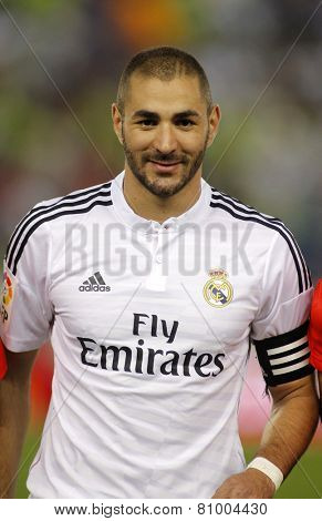 BARCELONA - MAY,11: Karim Benzema of Real Madrid before the Spanish Kings Cup match against UE Cornella at the Estadi Cornella on May 11, 2014 in Barcelona, Spain