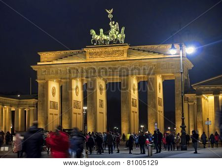 Berlin, Germany - December 7, 2014: Tourists Visiting Brandenbur