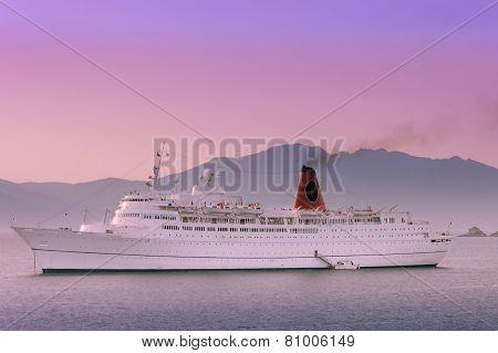 Cruiser Ship Sailing On Aegean Sea