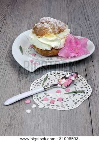 Valentine's Day: Pastry Chantilly Cream On A Heart Plate