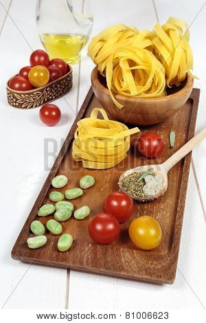Ingredients Italian Cuisine: Pasta, Tomatoes And Olive Oil