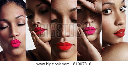 All About Lips Collage. Cutted Woman's Portraits With A Bright Lips