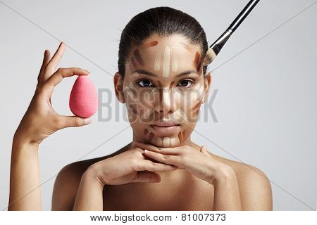 Highlighting And Shading Area Showing To Contour Corrective Face Shape.