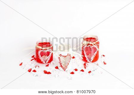 Three Valentine's Candlesticks