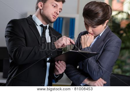 Strict Boss Talking With Secretary