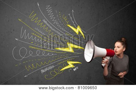 Cute girl shouting into megaphone with hand drawn lines and arrows on grungy background
