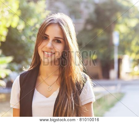 Portrait Of Young Beautiful Smiling Teen Girl