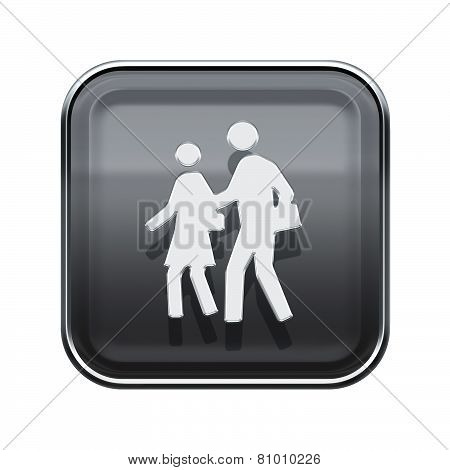 People Icon Glossy Grey, Isolated On White Background
