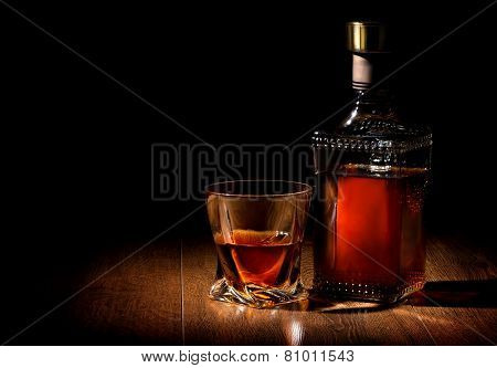 Whiskey on table