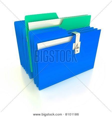 Folders Over White Background