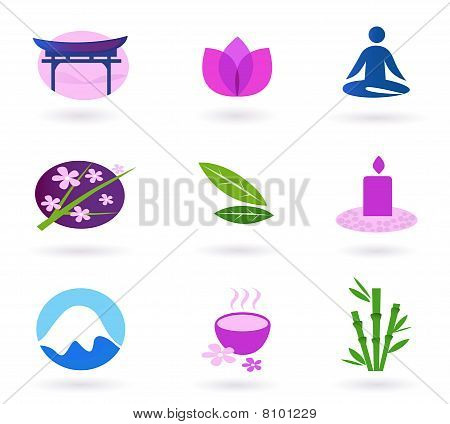 Wellness, asia, relaxation and spa icon set. Vector