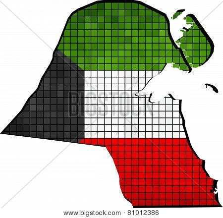 Kuwait map with flag inside