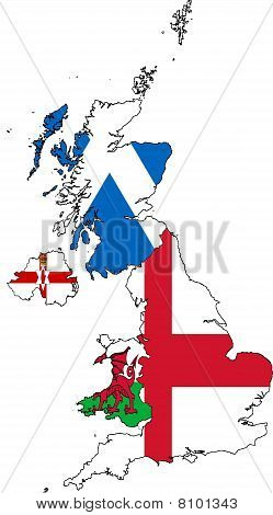 Britain Map Of Provinces Collage With Flags