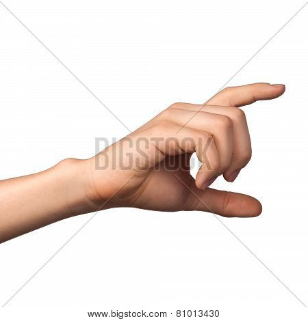Hand hold virtual card or smart phone on white background