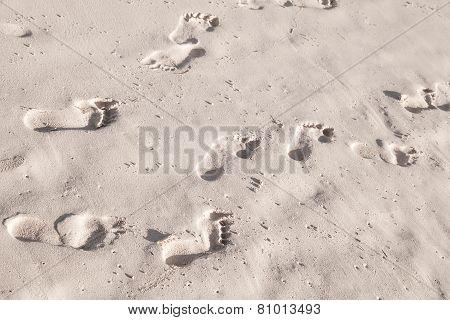 Footprints In White Coastal Sand On Ocean Beach