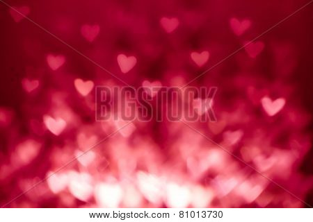 Abstract Valentine's Day Background With Red Hearts. Colorful Soft Hearts For Valentines Day Backgro