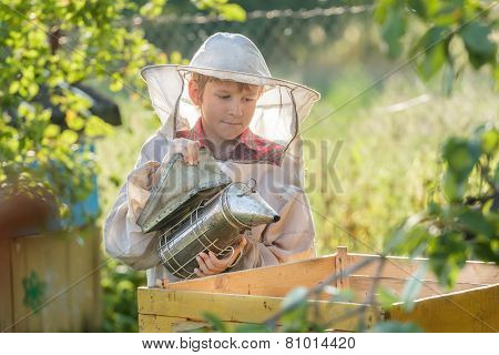 Teenage Beekeeper Smoking Hive In Bee Yard