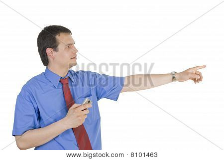Businessman Pointing Side