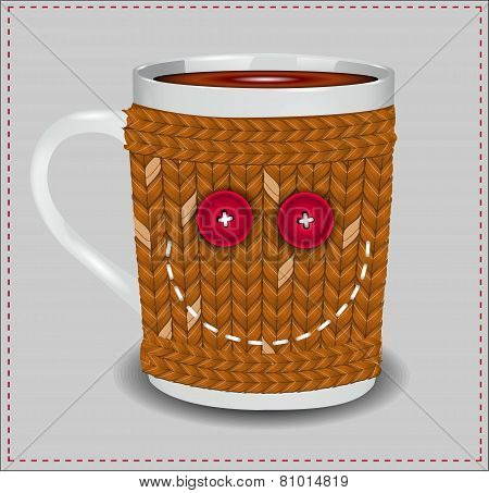 Funny Cup In A Sweater With Buttons And Thread Embroidered Smile.