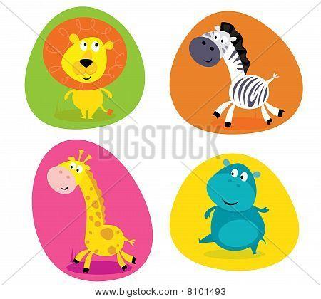 Cute safari animals set - lion, zebra, giraffe and hippo