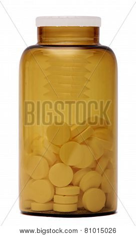 bottle of pills isolated on white background. Glass medical container.