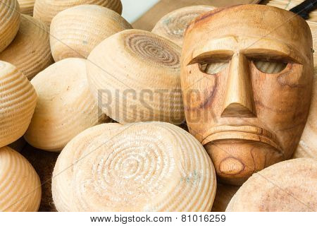 Blocks Of Cheese With Wooden Mask