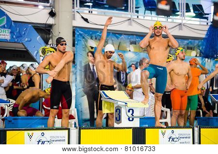 Milan - December  23: F. Magnini ( White Cap)  In  Swimming Meeting Brema Cup On December  23, 2014