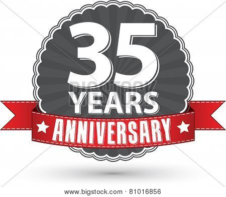 Celebrating 35 Years Anniversary Retro Label With Red Ribbon, Vector Illustration