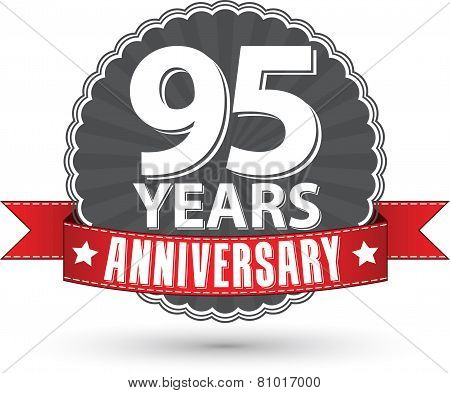 Celebrating 95 Years Anniversary Retro Label With Red Ribbon, Vector Illustration