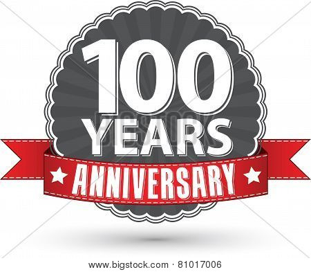 Celebrating 100 Years Anniversary Retro Label With Red Ribbon, Vector Illustration